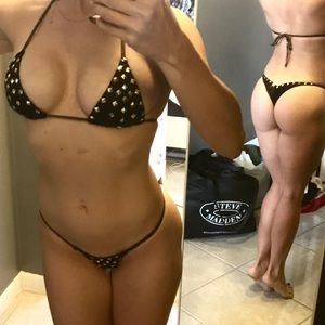 Other - Black & Gold Studded Bikini with Scrunch butt